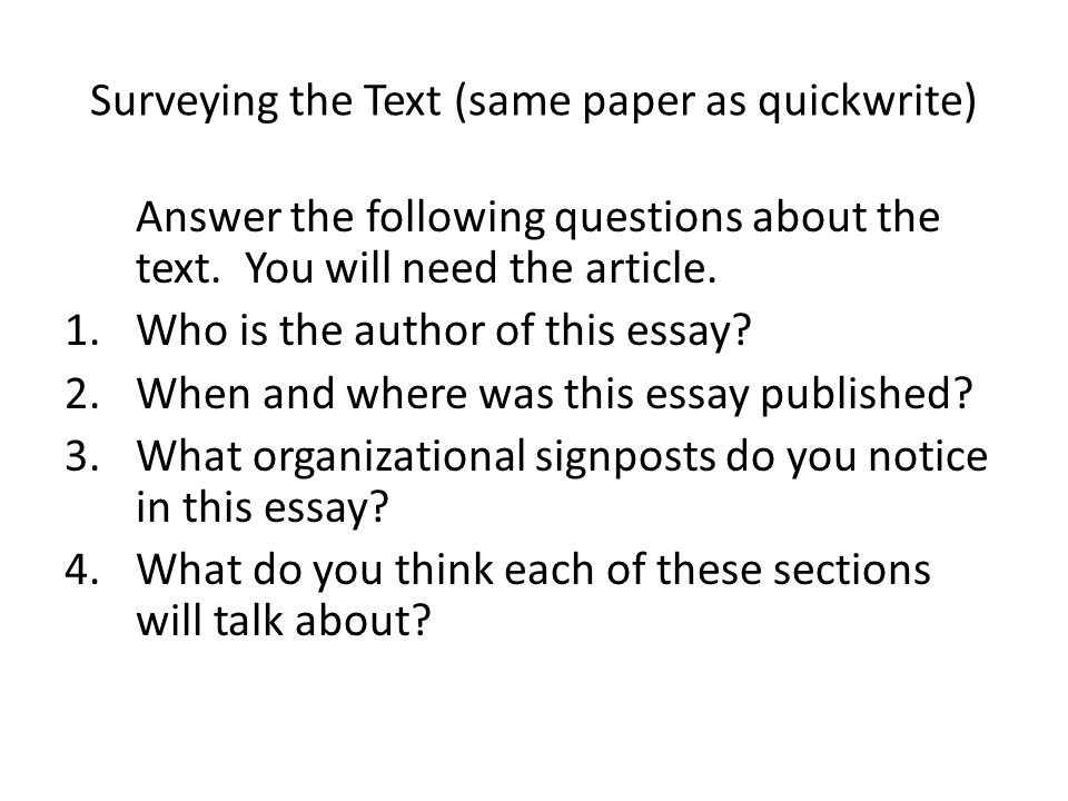 Surveying the Text (same paper as quickwrite)
