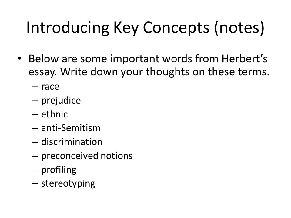 Introducing Key Concepts (notes)