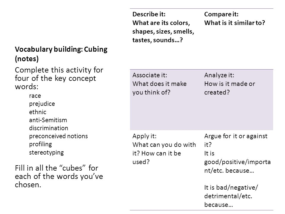 Vocabulary building: Cubing (notes)