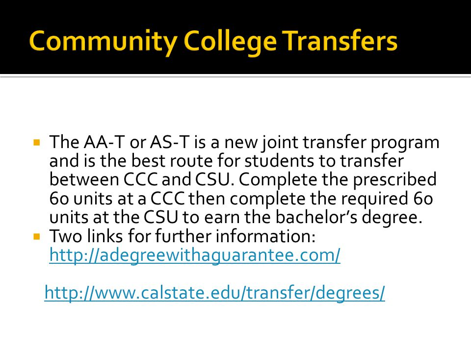 Community College Transfers