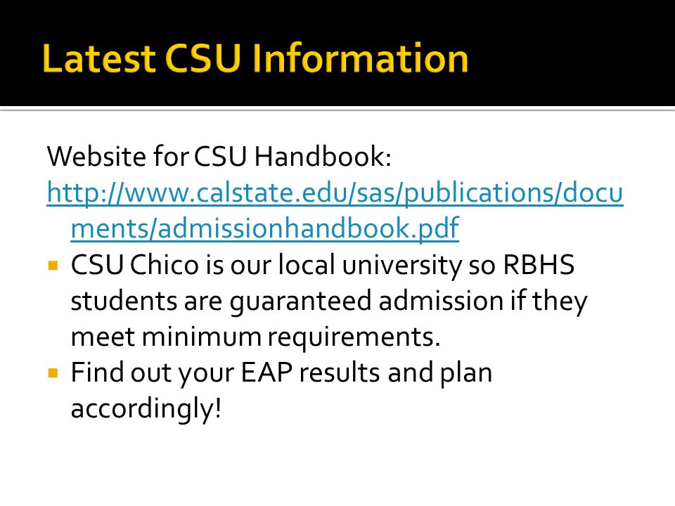 Latest CSU Information