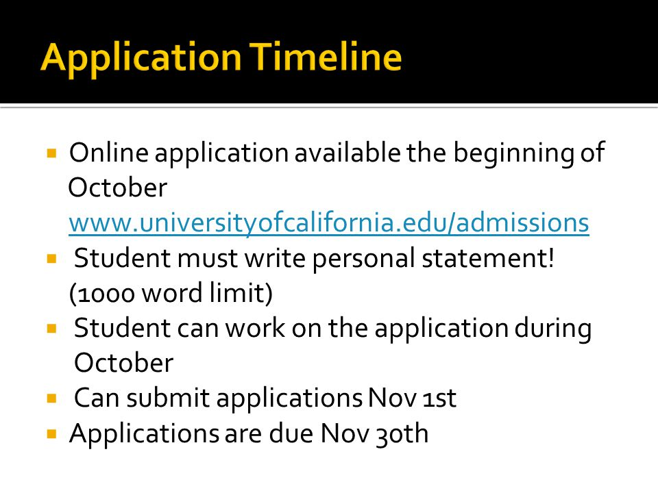 Application Timeline Online application available the beginning of
