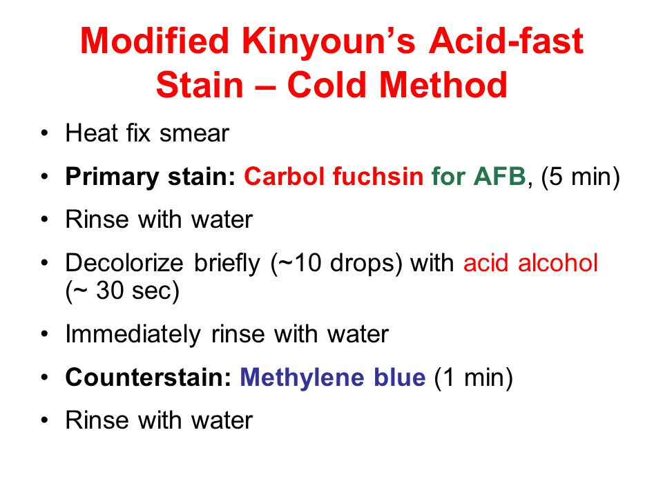 Modified Kinyoun's Acid-fast Stain – Cold Method