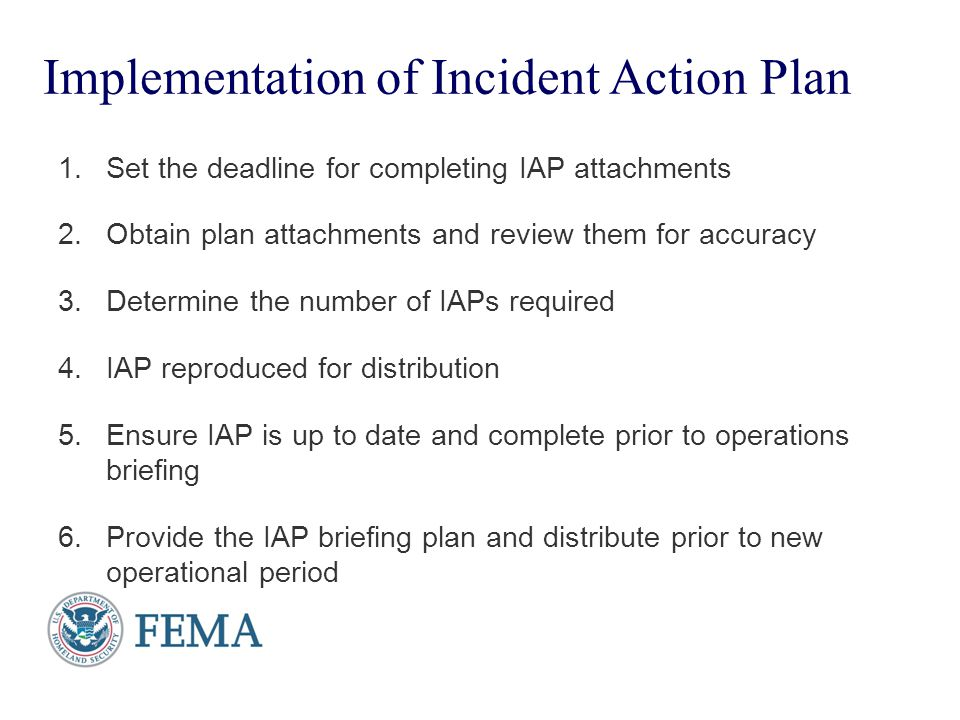 Implementation of Incident Action Plan