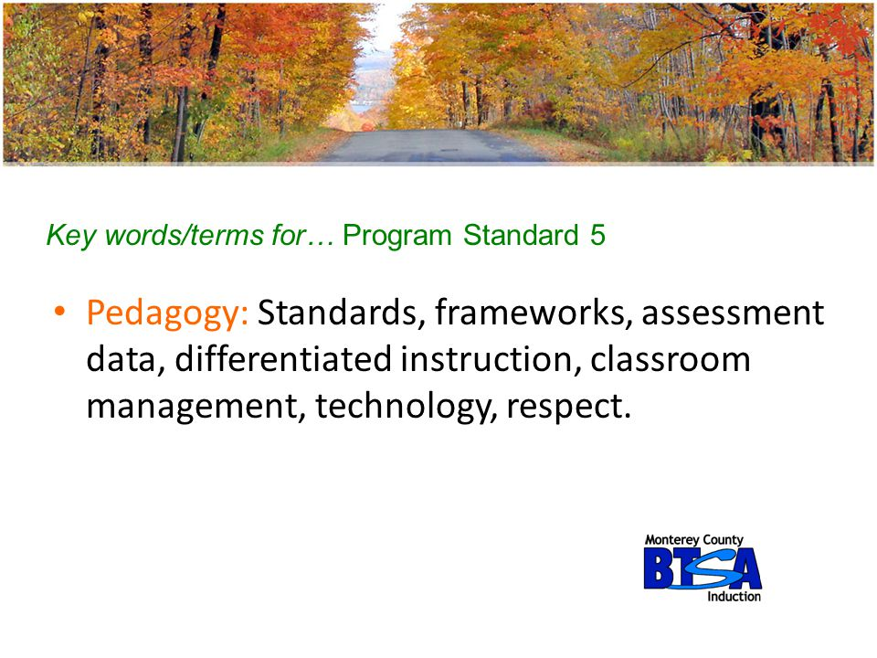 Key words/terms for… Program Standard 5