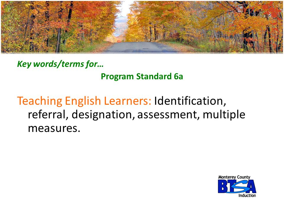 Key words/terms for… Program Standard 6a.