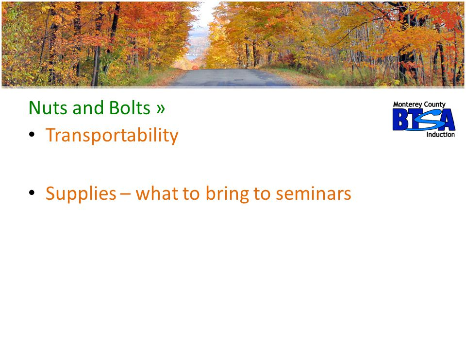 Nuts and Bolts » Transportability Supplies – what to bring to seminars