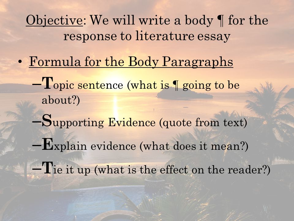 response to literature essay ppt objective we will write a body acircpara for the response to literature essay