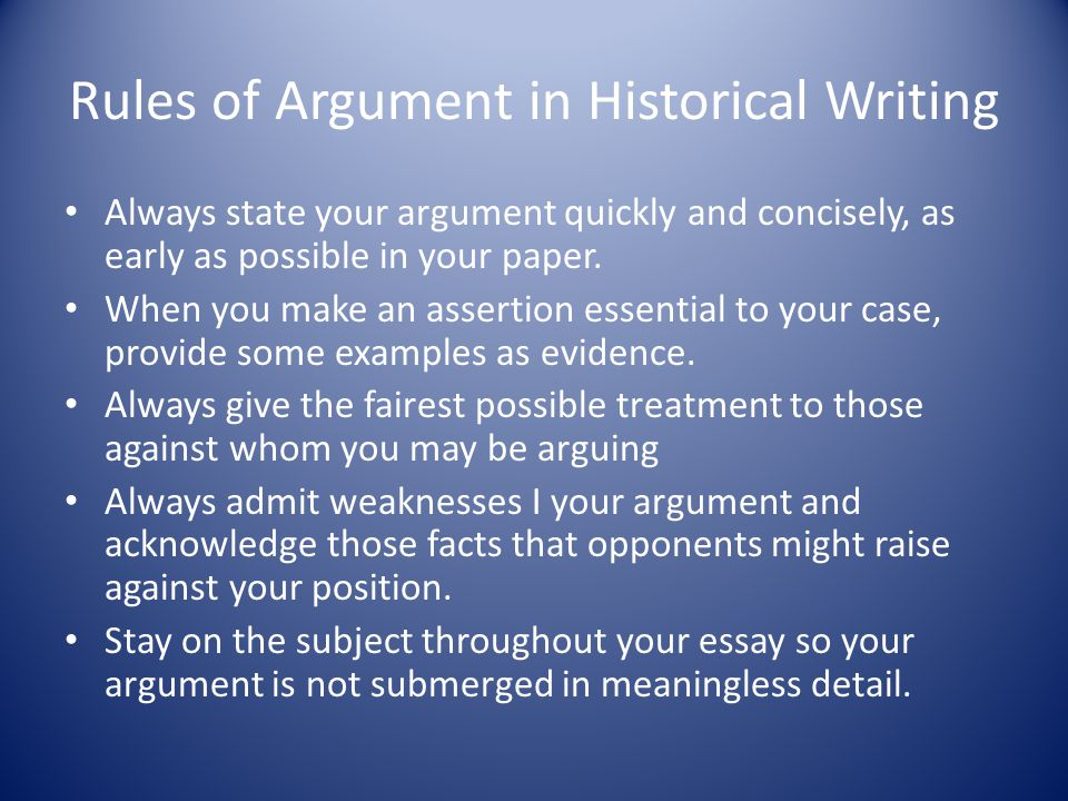 Rules of Argument in Historical Writing