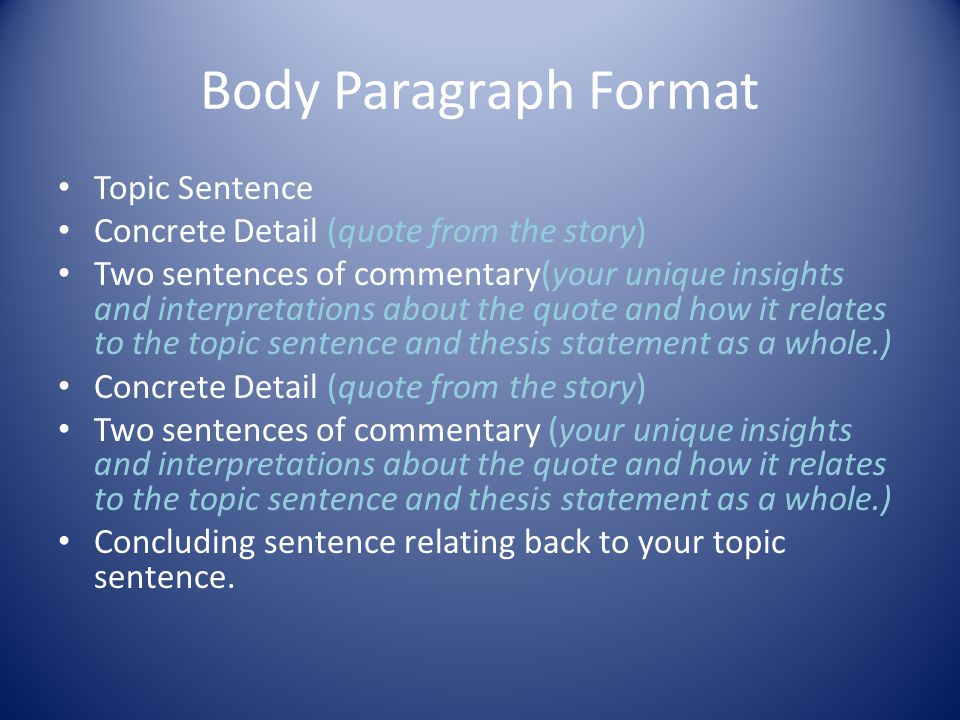 Body Paragraph Format Topic Sentence