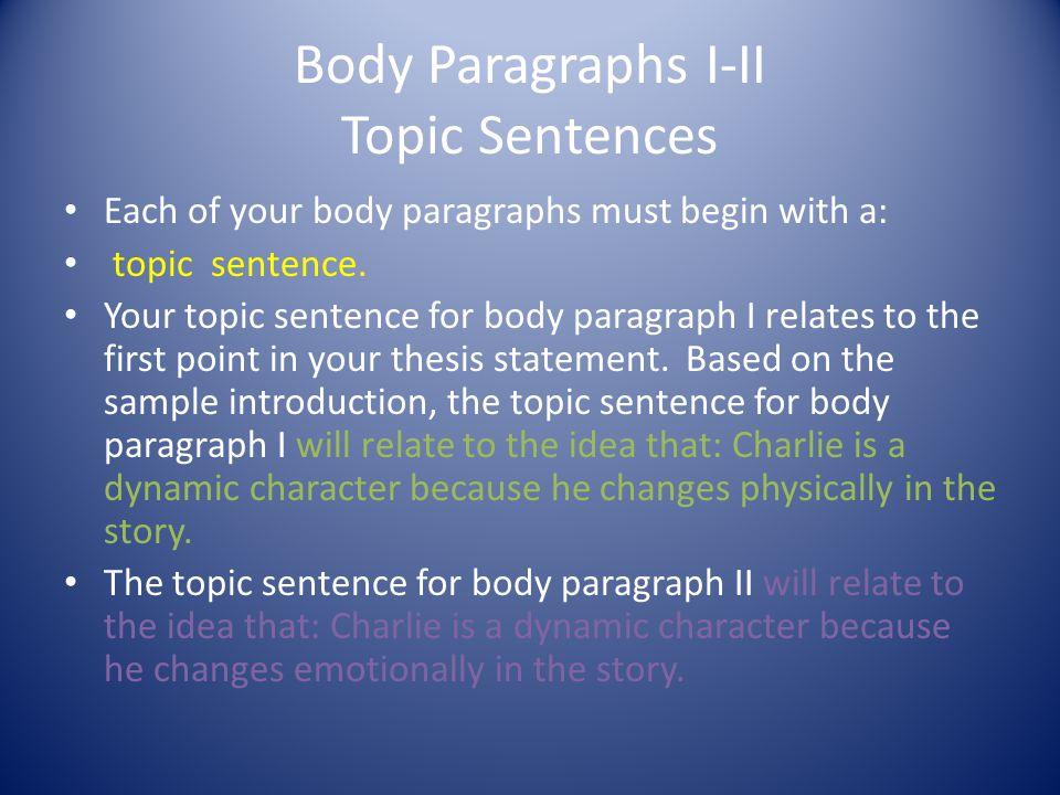 Body Paragraphs I-II Topic Sentences