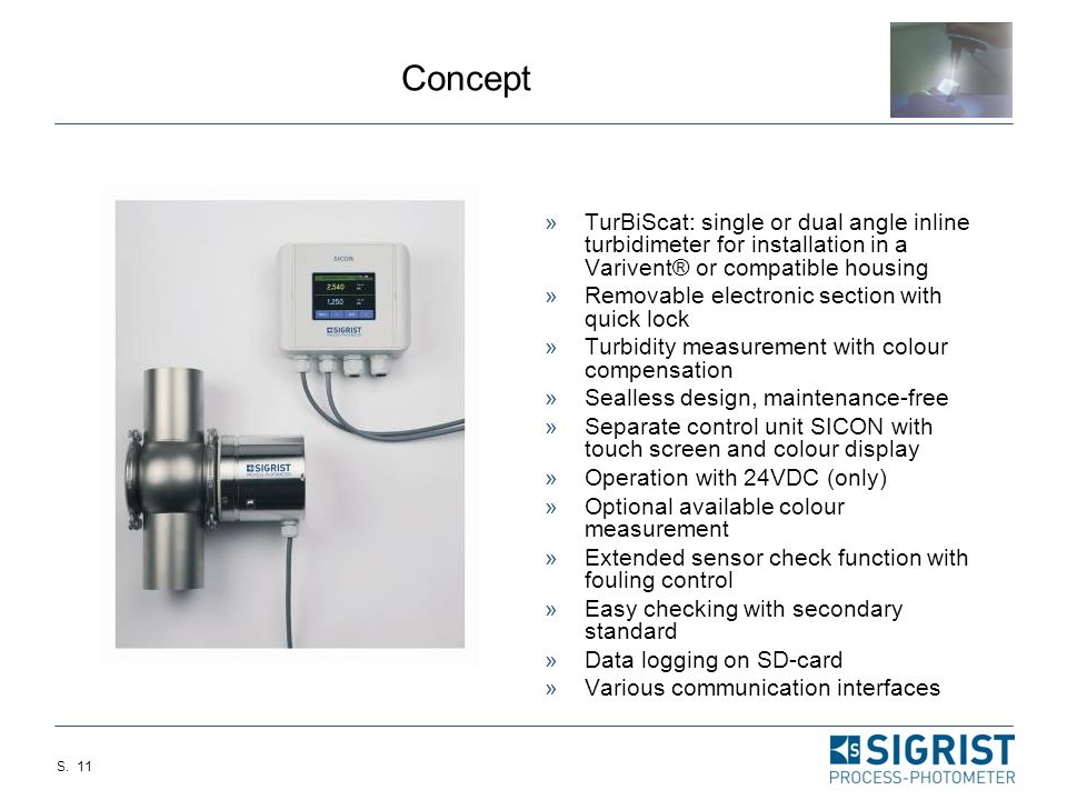 Concept TurBiScat: single or dual angle inline turbidimeter for installation in a Varivent® or compatible housing.