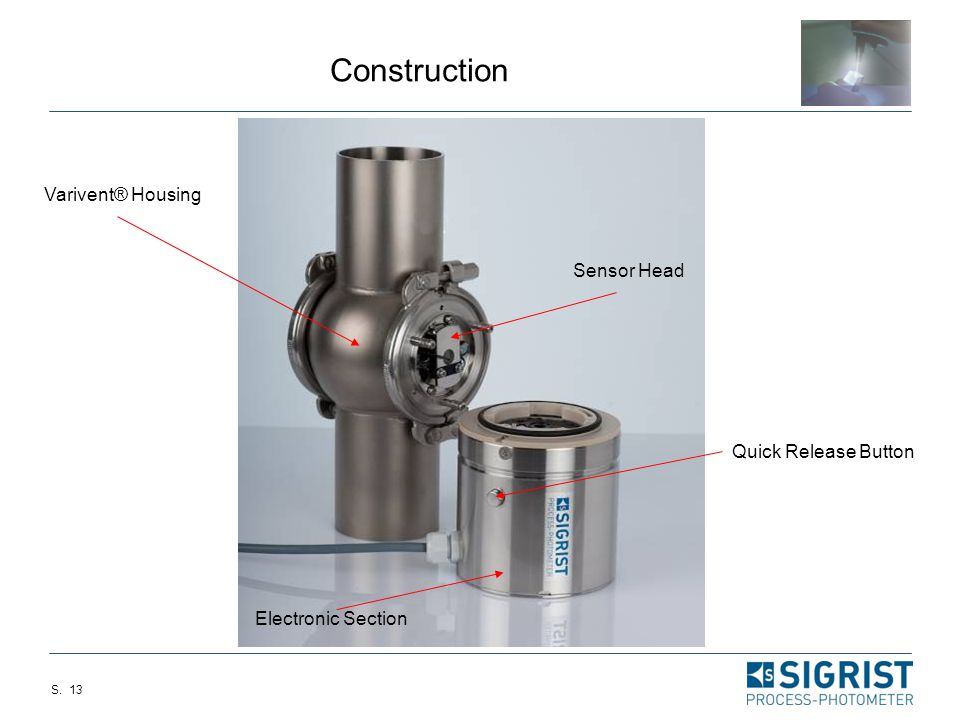 Construction Varivent® Housing Sensor Head Quick Release Button