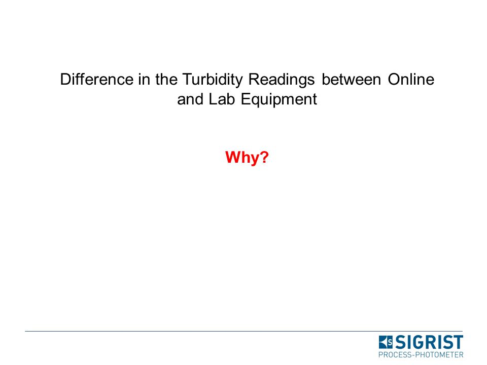 Difference in the Turbidity Readings between Online and Lab Equipment Why