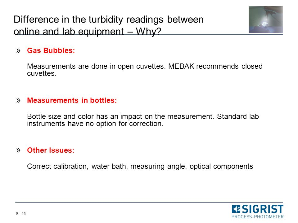 Difference in the turbidity readings between online and lab equipment – Why