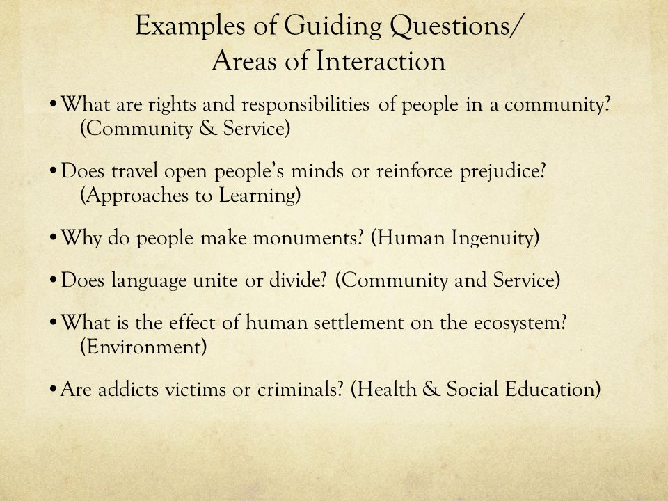 Examples of Guiding Questions/ Areas of Interaction