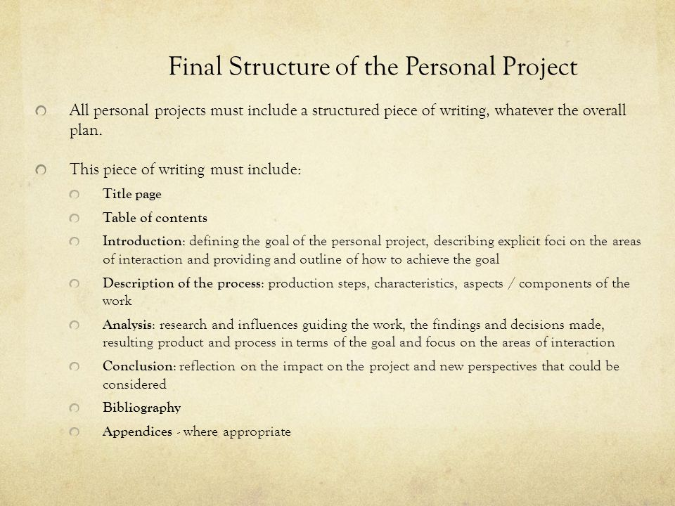 Final Structure of the Personal Project