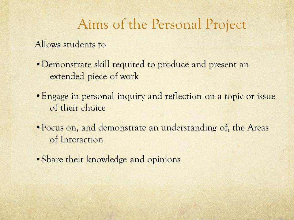 Aims of the Personal Project