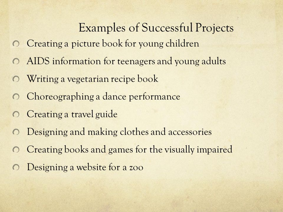 Examples of Successful Projects
