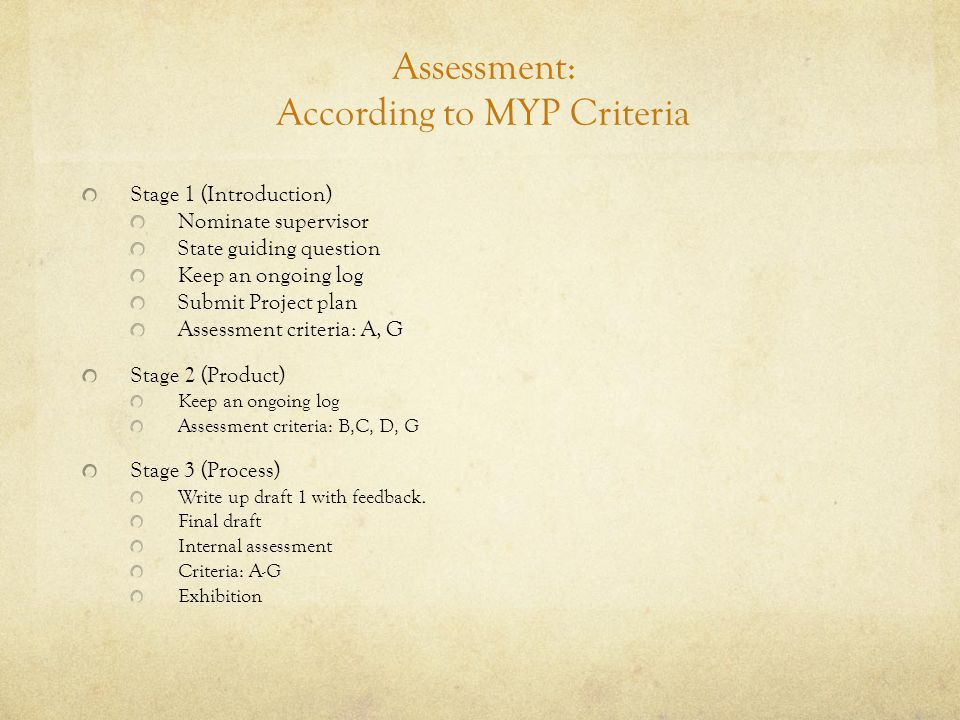 Assessment: According to MYP Criteria