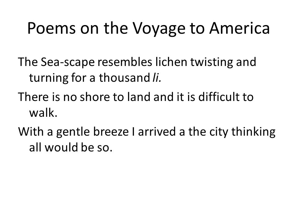 Poems on the Voyage to America