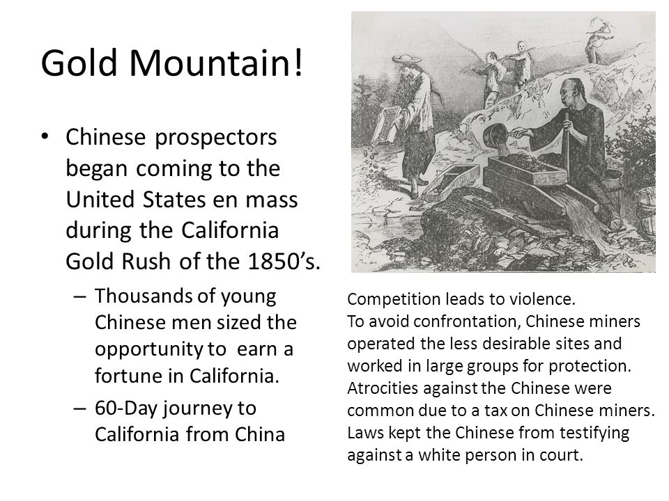 Gold Mountain! Chinese prospectors began coming to the United States en mass during the California Gold Rush of the 1850's.