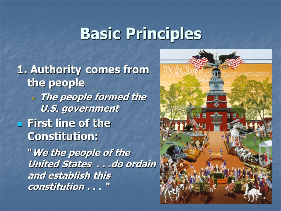 Basic Principles 1. Authority comes from the people