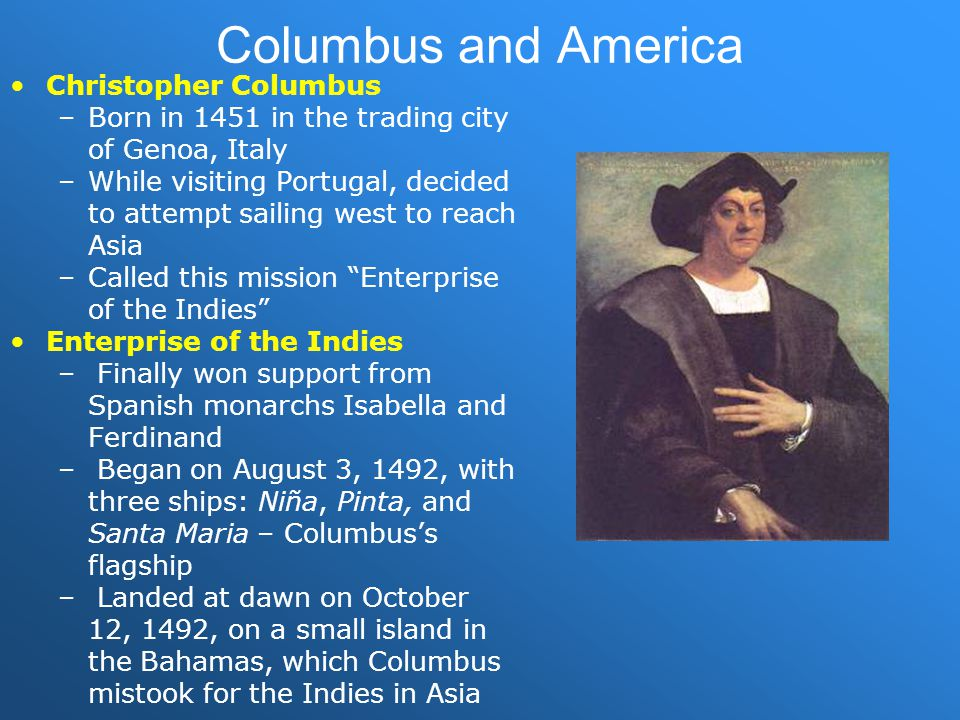 Columbus and America Christopher Columbus
