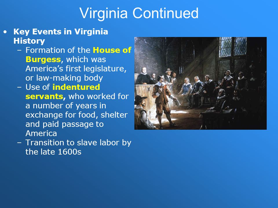 Virginia Continued Key Events in Virginia History