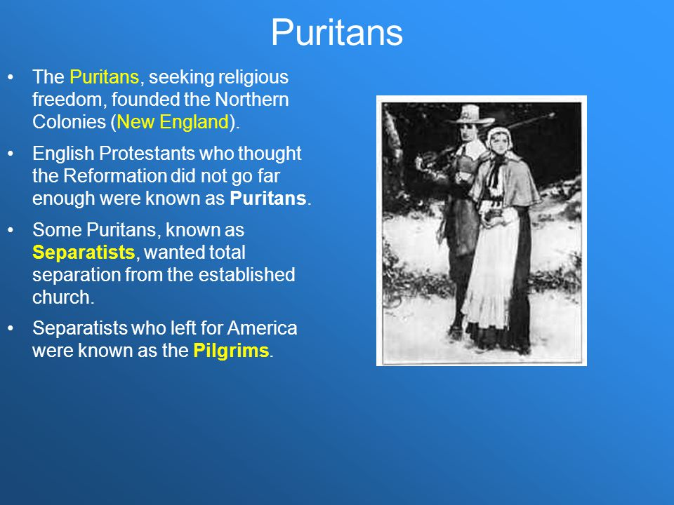 Puritans The Puritans, seeking religious freedom, founded the Northern Colonies (New England).