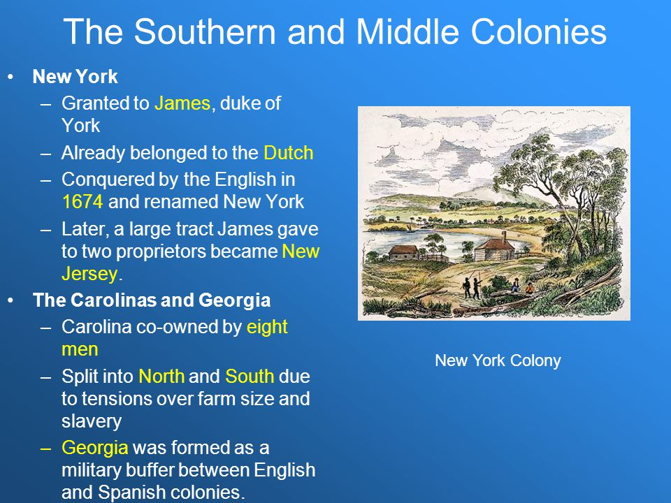The Southern and Middle Colonies