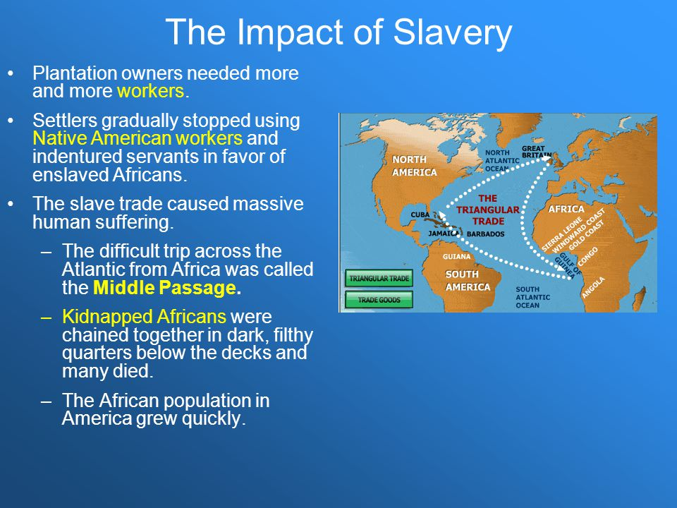The Impact of Slavery Plantation owners needed more and more workers.