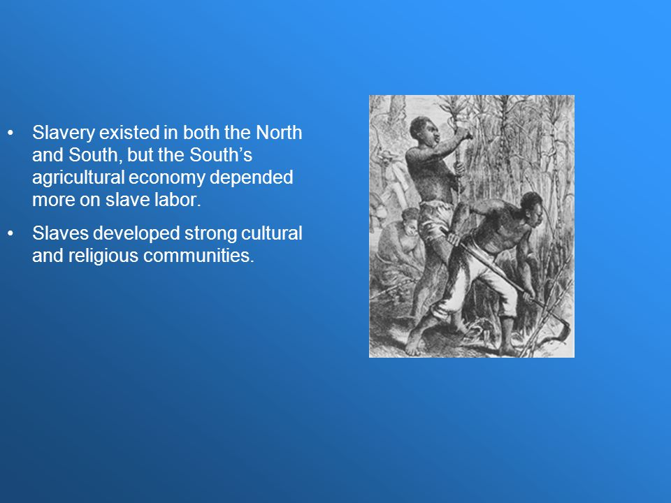 Slavery existed in both the North and South, but the South's agricultural economy depended more on slave labor.