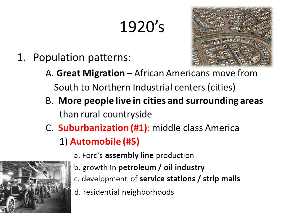 1920's Population patterns: