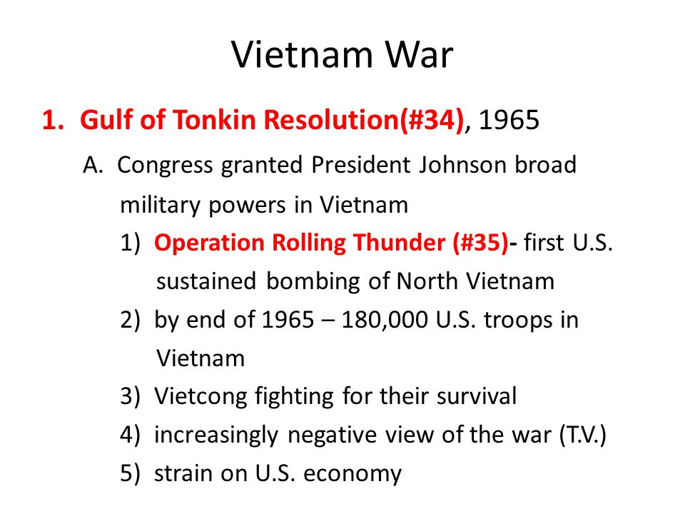 Vietnam War Gulf of Tonkin Resolution(#34), 1965