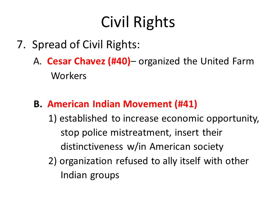 Civil Rights Spread of Civil Rights: