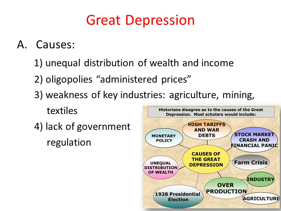 Great Depression A. Causes:
