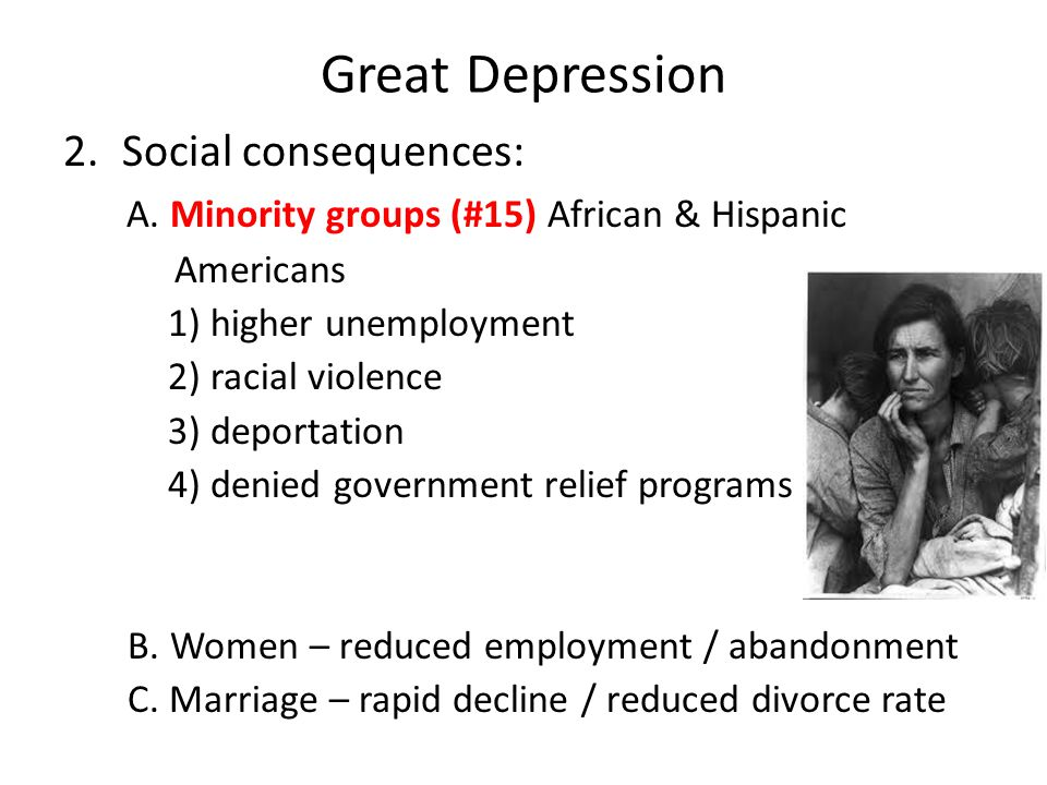 Great Depression Social consequences: