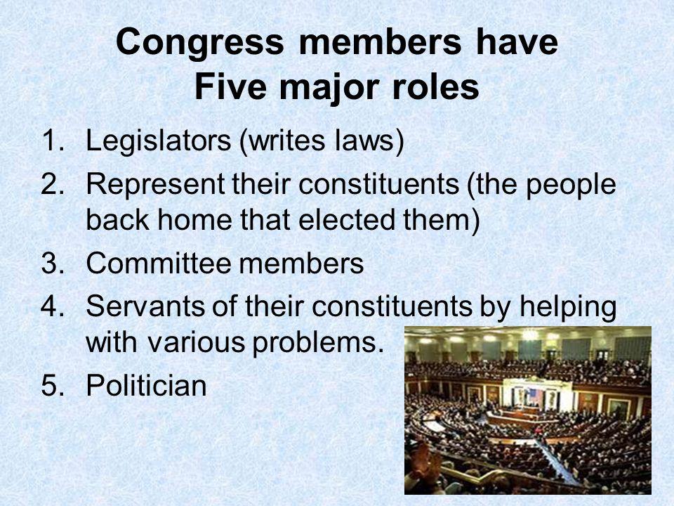 Congress members have Five major roles
