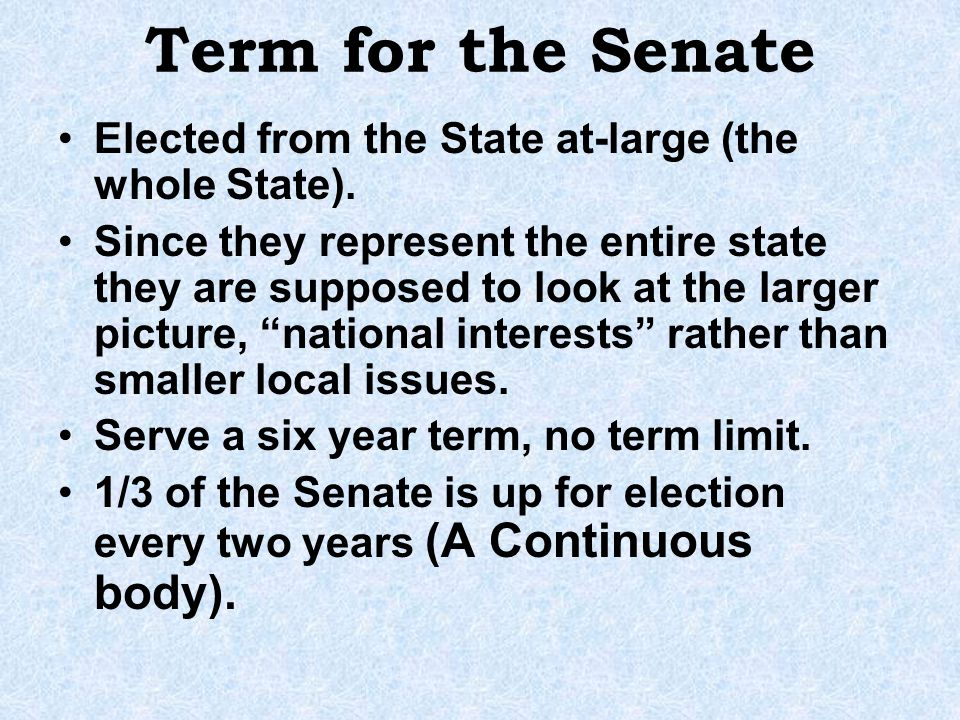 Term for the Senate Elected from the State at-large (the whole State).