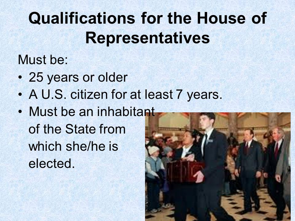 Qualifications for the House of Representatives
