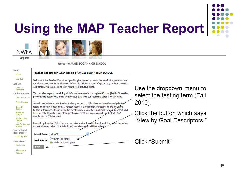 Using the MAP Teacher Report