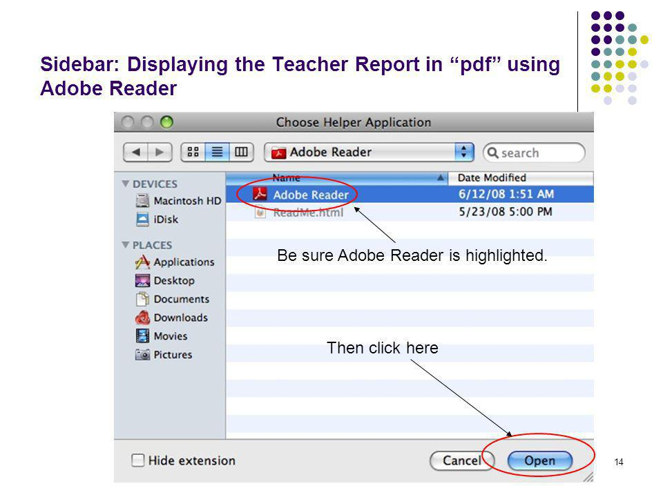 Sidebar: Displaying the Teacher Report in pdf using Adobe Reader