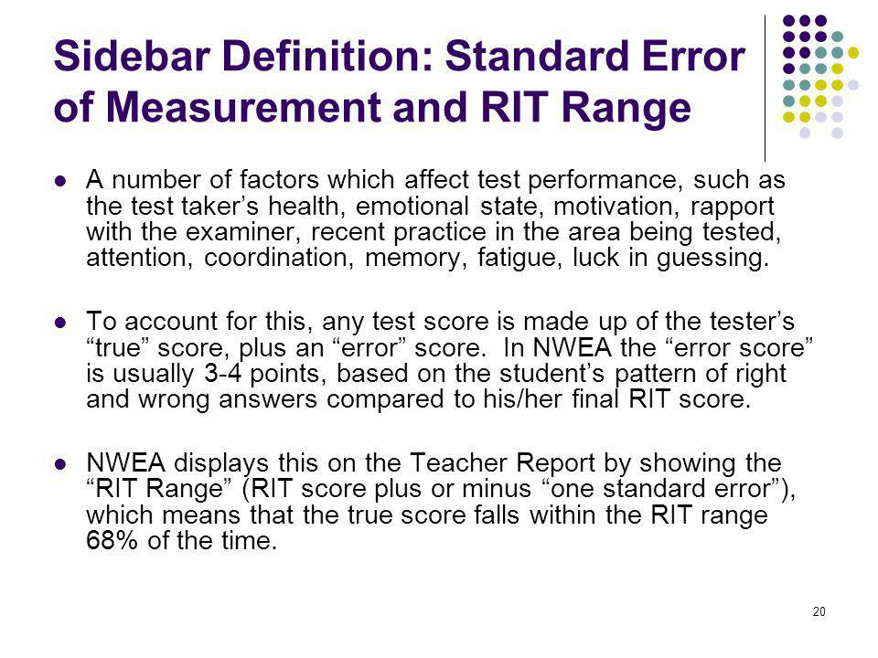 Sidebar Definition: Standard Error of Measurement and RIT Range
