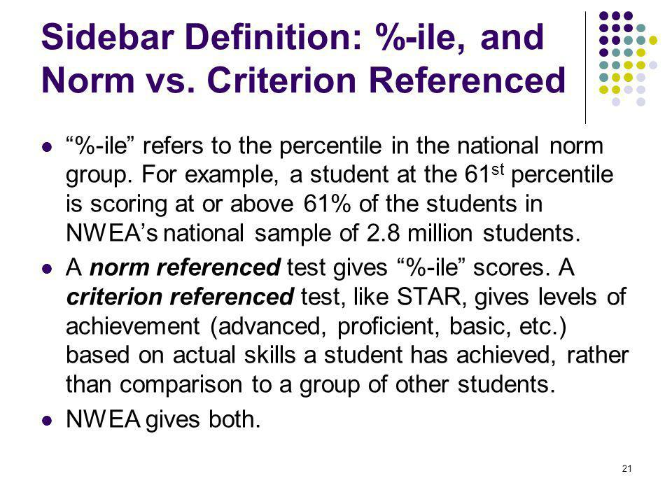 Sidebar Definition: %-ile, and Norm vs. Criterion Referenced