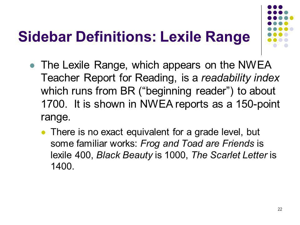 Sidebar Definitions: Lexile Range