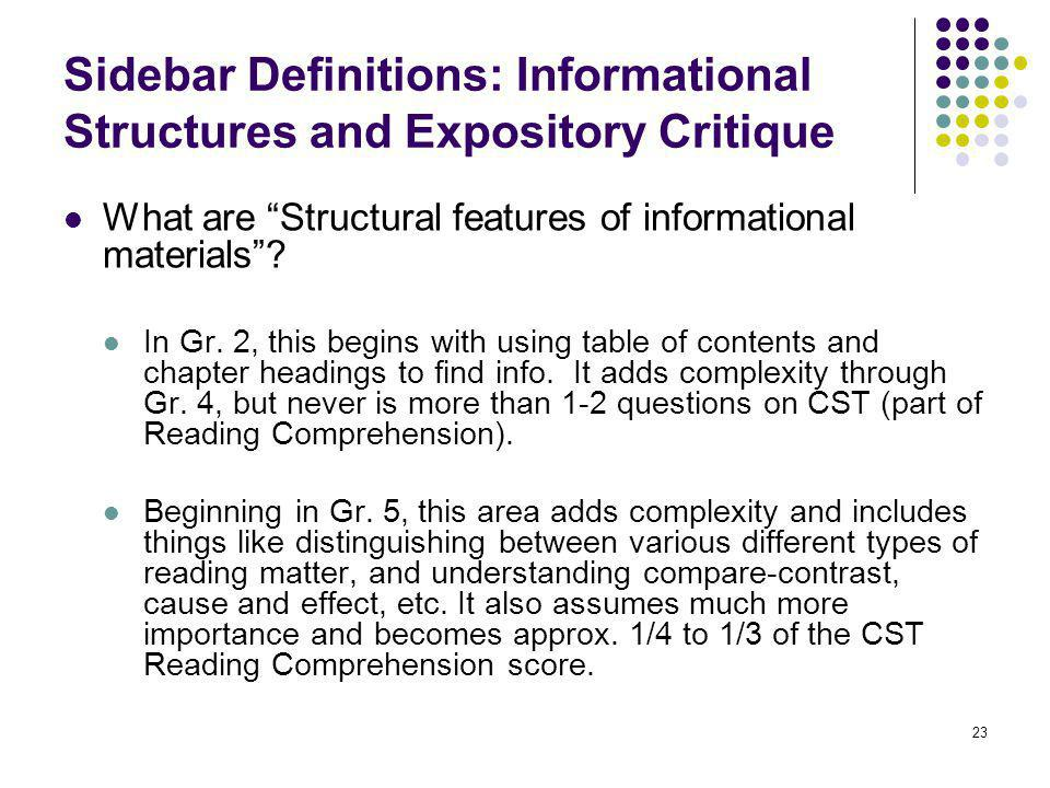 Sidebar Definitions: Informational Structures and Expository Critique