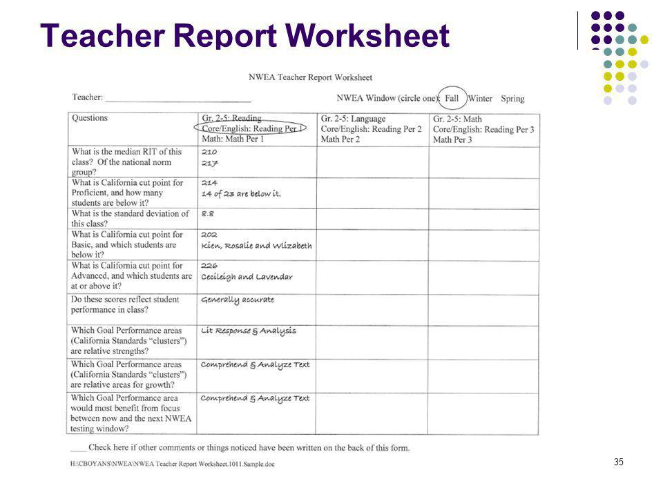 Teacher Report Worksheet