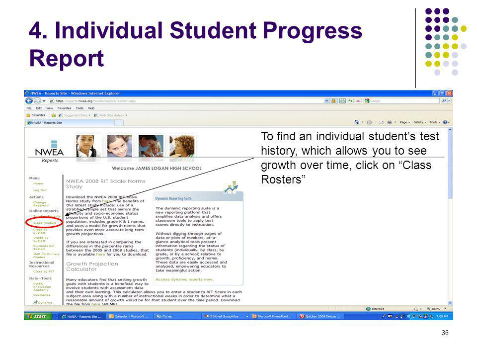 4. Individual Student Progress Report