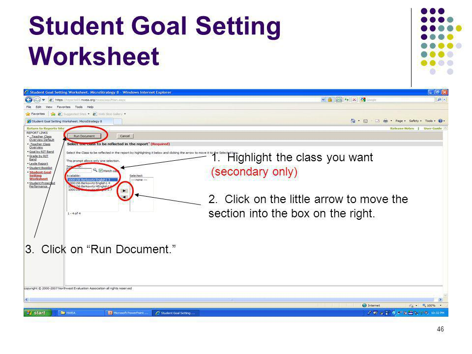 Student Goal Setting Worksheet